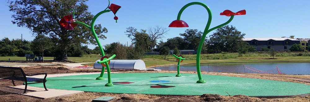 Splash pads offer fun for kids big and small.