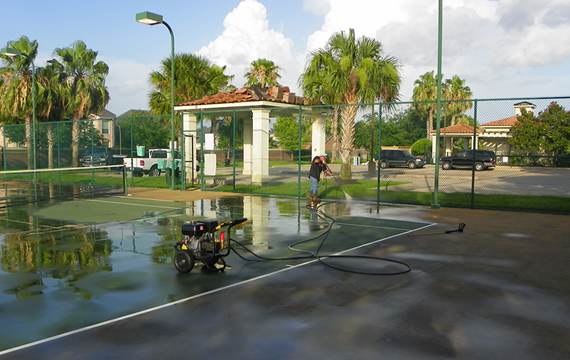 Power washing tennis and basketball court contractors in